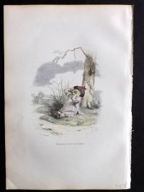 Grandville 1842 Hand Col Print. Crying Bird
